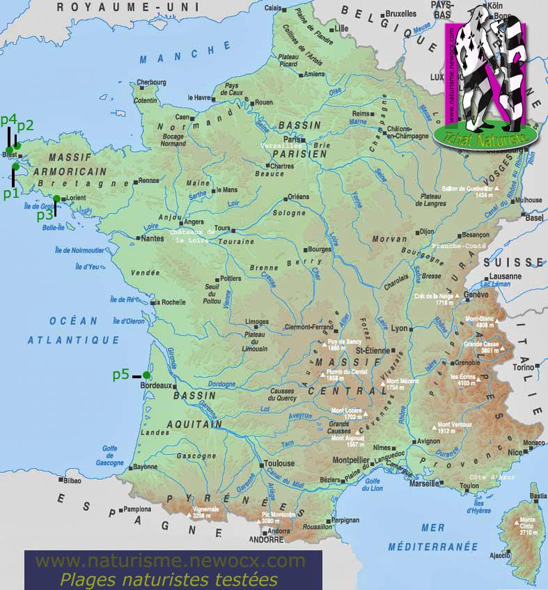 Carte plages/centres naturistesde France, cliquez pour agrandir