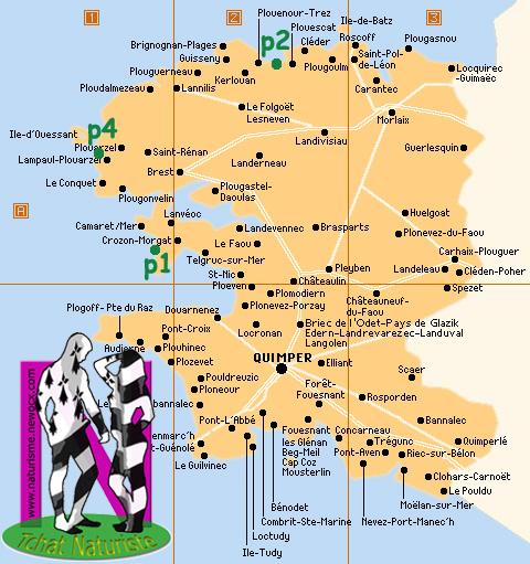 Carte plages/centres naturistes Finistère