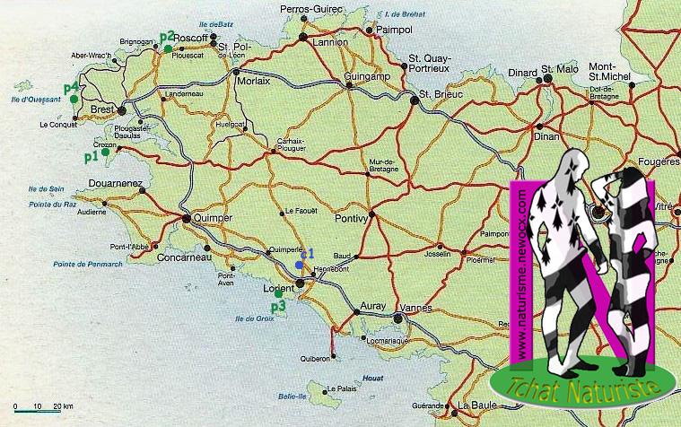 Carte plages/centres naturistes Bretagne, cliquez pour agrandir
